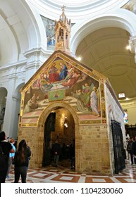 "ASSISI, ITALY - MAY 12, 2018: the small chapel of ""Porziuncola"" is located inside the Basilica of ""Santa Maria degli Angeli"". The chapel was built in the 9th century and donated to Saint Francis."