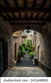 Assisi, Italy - May 22 2019 : Streets and beautiful buildings in medieval city of Assisi, Umbria Italy.