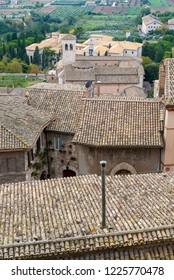 ASSISI, ITALY - OCTOBER 27, 2018:  roofs of the medieval village of Assisi