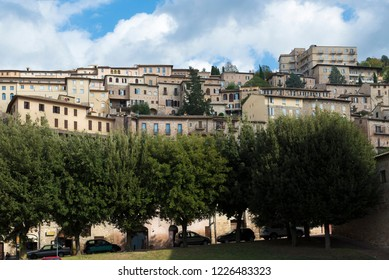 ASSISI, ITALY - OCTOBER 27, 2018: Cityscape of the medieval town of Assisi, Umbria