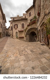 ASSISI, ITALY - OCTOBER 27, 2018: medieval alleys in Assisi