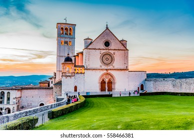Assisi (Italy) - The Saint Francis catholic basilica at sunset