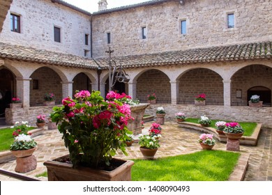 Assisi,  Perugia / Italy - April 12 2019: The Basilica of Saint Francis of Assisi is the mother church of the Roman Catholic Order of Friars Minor Conventual in Assisi