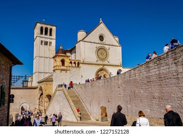 ASSISI, PERUGIA, UMBRIA, ITALY - September 30, 2018: View of the ascent to the Upper Basilica of San Francesco, a World Heritage Site.
