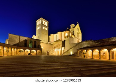 Assisi, Umbria, Italy - September 11, 2018:  Assisi Old Town - Basilica di San Francesco d'Assisi at Night