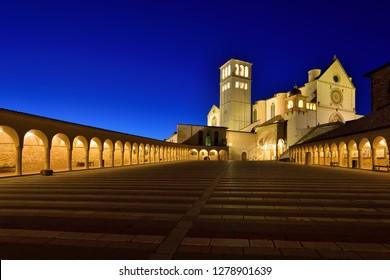 Assisi, Umbria, Italy - September 11, 2018:  Assisi Old Town - Basilica di San Francesco d'Assisi at Night