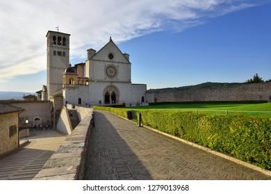 Assisi, Umbria, Italy - September 11, 2018: Assisi Old Town - Basilica di San Francesco d'Assisi at Day