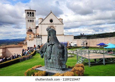 Assisi, Umbria / Italy - September 25, 2015: The Basilica of Saint Francis of Assisi, September 25, 2015.