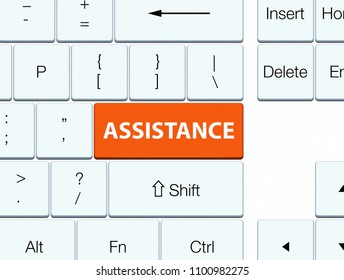 Assistance isolated on orange keyboard button abstract illustration