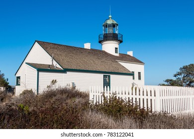Assistant keeper's quarters and Old Point Loma lighthouse at Cabrillo National Monument in San Diego, California.