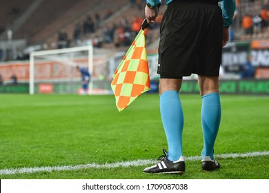 Assistant referee during football match