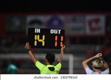 Assistant referee hold Substitution board,selective focus