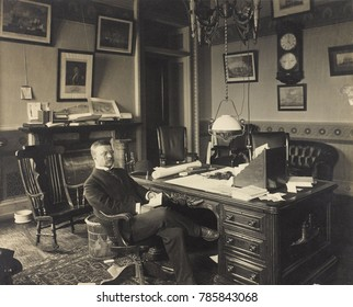 Assistant Secretary of the Navy, Theodore Roosevelt at his desk, 1897-98. While President McKinley was seeking a diplomatic solution, Roosevelt issued orders to several naval vessels to prepare for wa