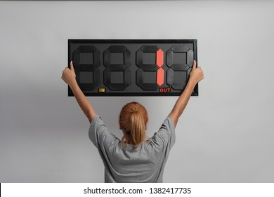 Assistant woman referee hold Substitution board on isolated and selective focus