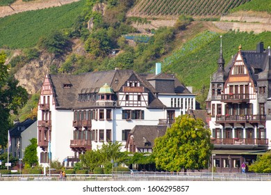ASSMANNSHAUSER HOLLENBERG, GERMANY - SEPTEMBER 5, 2018:  View of German village with old architecture and tiered vineyard along Rhine River.