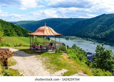 Assmanshausen,  Germany - 8 Juni 2019: Pavilion, arbor in upper middle Rhine river valley (Mittelrhein), vineyards by Assmanshausen, nearby Rudesheim am Rhein, Lorch. Hessen, Germany. Unesco