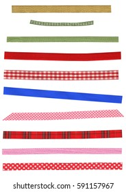 Assort of colorful beautiful ribbons. Many narrow strip of fabric in different patterns isolated on white background