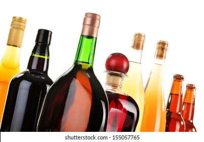 Assorted alcoholic beverages isolated on white background