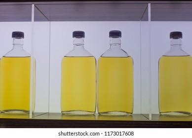 Assorted alcoholic products isolated on showcase