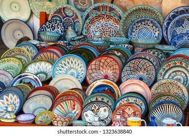 assorted artisan pottery,crafts of Marrakech,Morocco,
