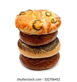 assorted bagels isolated on white