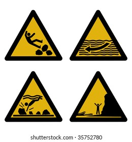 assorted beach hazard signs slippery rocks strong currents tides JPEG