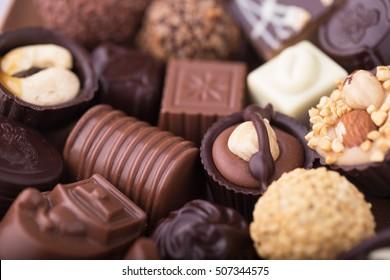 Assorted belgian chocolate praline.
