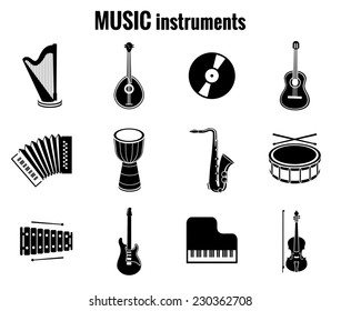 Assorted Black Music Instrument Icons on White Background
