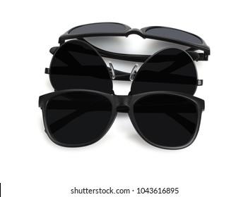 Assorted Black Sunglasses on White Background