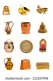 assorted  brass tools and objects group isolated on white