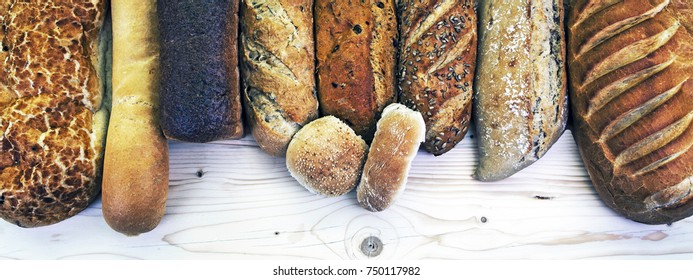 Assorted bread loaves, buns, rolls and bakery - panorama / banner - food concept for baking and eating bread - with text / copy / design space.