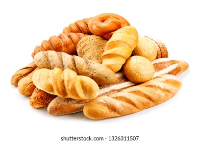 assorted breads isolated on white