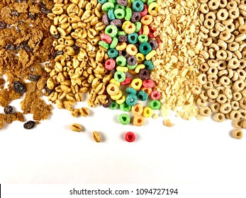 Assorted breakfast cereals on a white background with copy space
