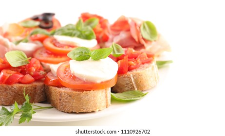 assorted bruschetta on white background