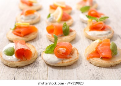 assorted canape with salmon