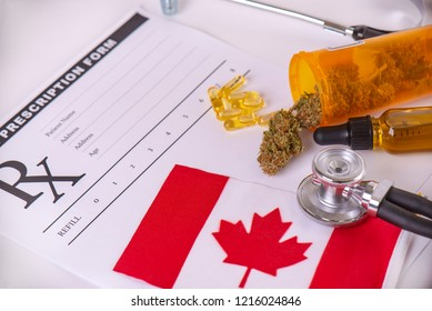 Assorted cannabis products with canadian flag, pills and cbd oil over medical prescription - medical marijuana concept