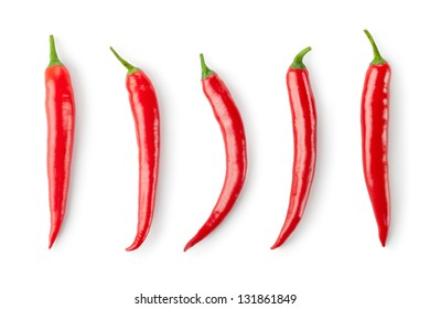 Assorted chili Peppers. Isolated on a white.