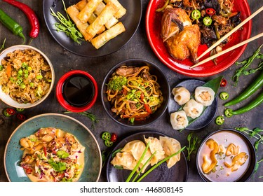 Assorted Chinese Food Set Noodles Fried Rice Dumplings Peking Duck