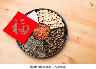 Assorted chinese sytle snack tray and chinese calligraphy, meaning for blessing good luck