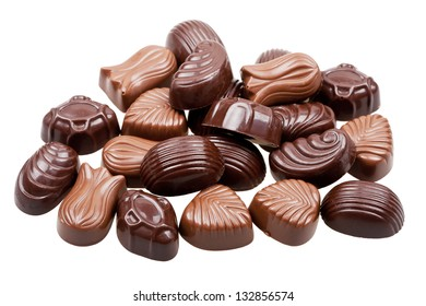Assorted chocolate candies isolated on white background