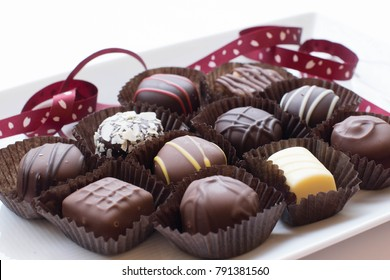 Assorted Chocolates on the White Plate