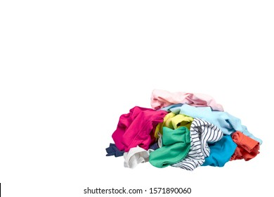 Assorted clothes, loundry housework. Isolated on white background. Copy space template, mockup.