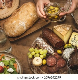 Assorted cold cuts and cheese platter food photography recipe idea