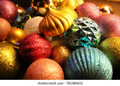 assorted colored ornaments