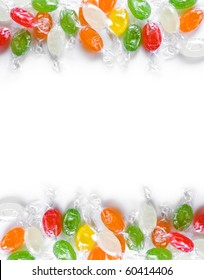 assorted colorful candies in plastic wraps isolated in white background