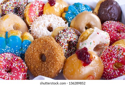 Assorted Colorful Donuts in Box