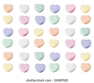 Assorted colors of blank candy hearts. Clipping path is included in the file.