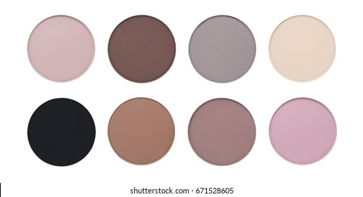 Assorted colors matte blusher or eyeshadow isolated on white background