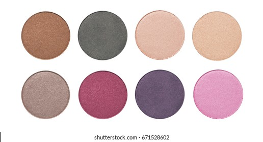 Assorted colors metallic blusher or eyeshadow isolated on white background