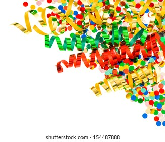 assorted confetti with shiny colorful streamer on white background. party decoration